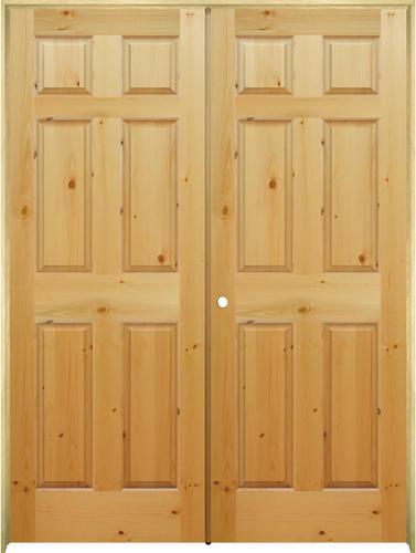 Mastercraft Knotty Pine Raised 6 Panel Prehung Interior Double Door At Menards