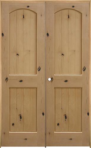 Mastercraft Knotty Alder Arch Plank Raised 2 Panel Prehung Interior Door At Menards