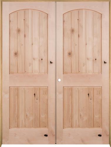 Mastercraft knotty alder arch plank raised 2 panel prehung interior door at menards for Mastercraft prehung interior doors