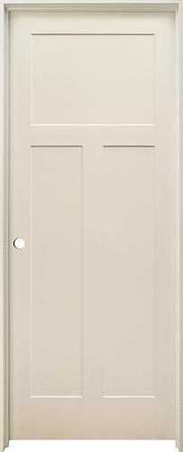 mastercraft 32 x 80 primed mission flat 3 panel hollow core prehung interior door right inswing. Black Bedroom Furniture Sets. Home Design Ideas