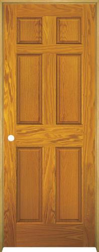 Mastercraft prefinished golden oak 6 panel prehung interior door at menards for Mastercraft prehung interior doors