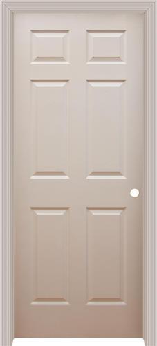 Mastercraft 30 X 80 Prefinished White Split Jamb Wood Grain 6 Panel Prehung Interior Door