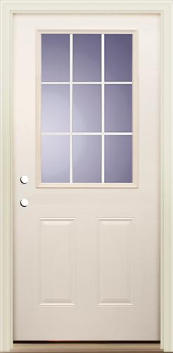 Mastercraft I 4 Smooth White Fiberglass 9 Lite Prehung Ext Door At Menards
