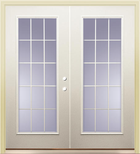 Mastercraft primed steel i 9 72 x 80 15 lite french for Steel exterior french doors
