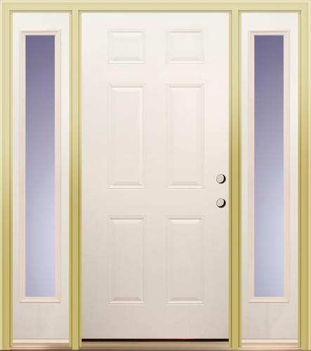 Mastercraft Prehung 36 X 80 White Primed E 1 Steel Door With Two 14 Sidelites At Menards