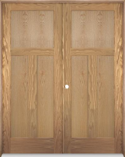 Mastercraft Oak Flat 3 Panel Mission Prehung Interior Double Door At Menards