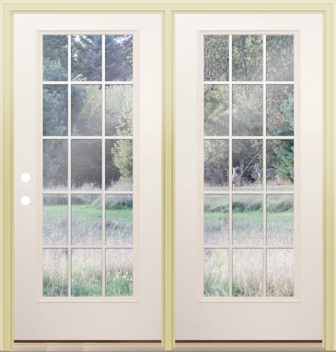 Mastercraft i 9 low e 72 x 80 primed steel 15 lite for Center hinged patio doors