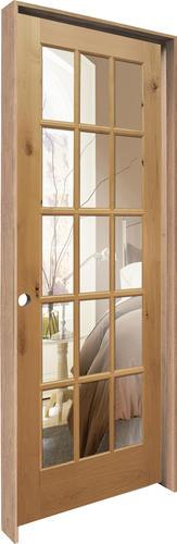 Mastercraft 32 X 80 Veneered Knotty Alder 15 Lite Prehung Interior Door With Divided Woodlite