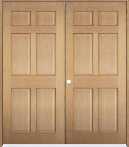 Mastercraft maple 6 panel prehung interior double door at menards for Mastercraft prehung interior doors