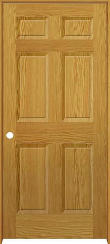 Mastercraft oaktowne 6 panel prefinished prehung interior door at menards for Mastercraft prehung interior doors