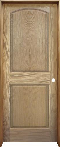 Mastercraft 32 x 80 oak arched top raised 2 panel prehung interior door left inswing for Mastercraft prehung interior doors
