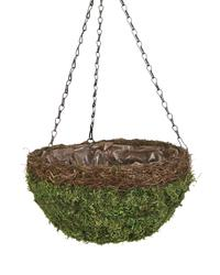 "14"" Moss Hanging Basket with Wicker"