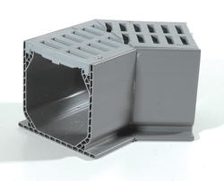 Mini Channel Fabricated 45 Degree Elbow with Grate, Gray