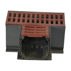Mini Channel Fabricated Tee with Grate, Brick Red