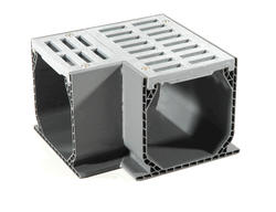 Mini Channel Fabricated 90 Degree Elbow with Grate, Gray