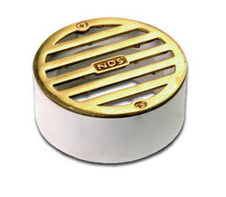"3"" Round Solid Polished Brass Grate with PVC Collar"