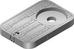 "14"" x 19"" x 12"" Box, Drop-In Locking Solid Plastic, Single 2"" AMR/TR Hole with7"" Top Recess Cover-Water Meter"