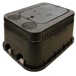 "13"" x 20"" x 12"" Dual Pipe Slot Box, Drop-In Locking Solid Plastic with Double Bottom Mount AMR Brackets Cover-Water Meter"