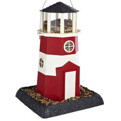 North States™ Large Red and White Shoreline Lighthouse Bird Feeder