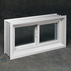 "Northview 32"" x 16"" x 8"" White Vinyl Buck Sliding Basement Window with Insulated Glass"