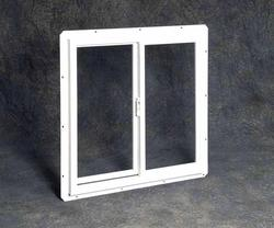 "Northview 48"" x 24"" White Vinyl Double Utility Slider Window with Single Pane Glass"