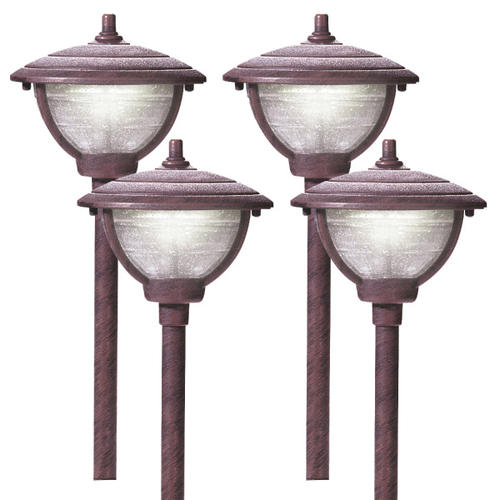 Patriot lighting palm island antique copper led low for Low voltage walkway lighting sets