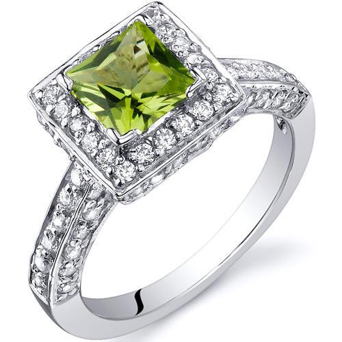 oravo 0 75 ct princess cut peridot sterling silver ring