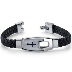 Oravo Leather Cross Motif Stainless Steel Bracelet for Men