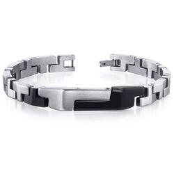 Oravo Brushed and Black-Plated Stainless Steel Link Bracelet for Men