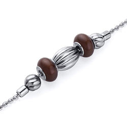 Oravo Brown Roundel with Corrugated Bead Stainless Steel Bracelet