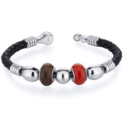 Oravo Red and Brown Roundel Bead Woven Leather Bracelet