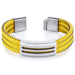 Oravo Yellow Woven Leather and Stainless Steel Bracelet for Men