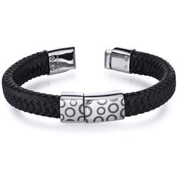Oravo Circle Motif Woven Leather and Stainless Steel Bracelet for Men