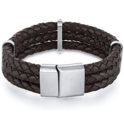 Oravo Triple Layer Brown Woven Leather Bracelet for Men