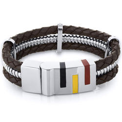 Oravo Art Deco Brown Woven Leather and Stainless Steel Bracelet for Men