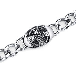 Oravo Thick and Heavy Celtic Cross Stainless Steel ID-Style Curb Chain Bracelet