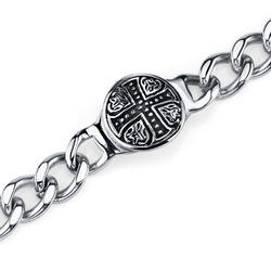 Oravo Rugged Celtic Cross Stainless Steel ID-Style Curb Chain Bracelet