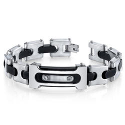 Oravo Double Riveted Black and 2-Toned Stainless Steel Bracelet for Men