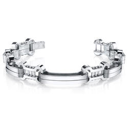 Oravo Mirror Finish Stainless Steel Curved Link Bracelet for Men