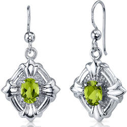 Oravo 1.50 ct. Oval-Shaped Peridot and Cubic Zirconia Sterling Silver Dangle Earrings