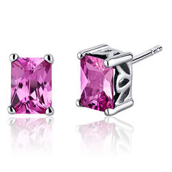 Oravo 2.50 ct. Radiant-Cut Pink Sapphire Sterling Silver Stud Earrings