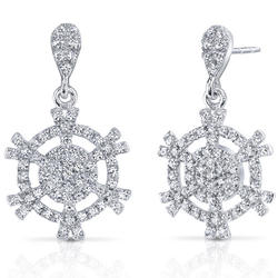 Oravo Snowflake 4.14 ct. Round-Shaped Machine White Cubic Zirconia Sterling Silver Dangle Earrings