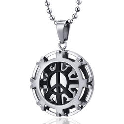 Oravo Polished Modern Peace Sign Stainless Steel Circle Pendant