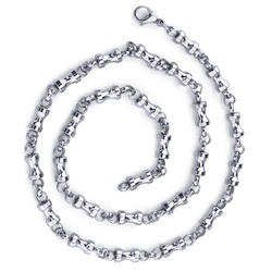 """Oravo 22"""" Stainless Steel Dumbbell Link Chain Necklace for Men"""