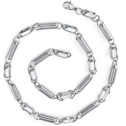 Oravo Unique Stainless Steel Coil Link Chain Necklace for Men
