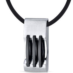 Oravo Stainless Steel Pendant with Black Triple-Stripe Accents for Men