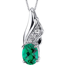 Oravo Graceful Angel 1 ct. Oval-Shaped Emerald Sterling Silver Pendant