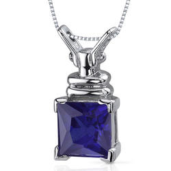 Oravo 3.25 ct. Princess-Cut Blue Sapphire Sterling Silver Pendant