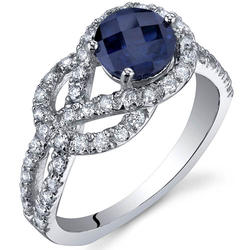 Oravo 1.25 ct. Round-Shaped Blue Sapphire Sterling Silver Ring