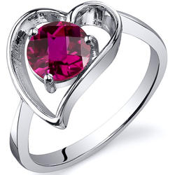 Oravo Heart Shape 1 ct. Round-Shaped Ruby Sterling Silver Solitaire Ring